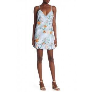 Everly Blue Floral Ruffle Hem Wrap Dress